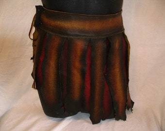 Authentic Gladiator War Skirt BURNING MAN Leather COMICON Steampunk Loincloth Conan Renaissance LaRP Loincloth Handmade by Debbie Leather