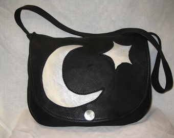 "Artisan Made Leather Renaissance Wicca Bag  Designer Leather Handbag  with Moon and Star Wiccan ""MAGICAL ZOE"" Handmade by Debbie Leather"