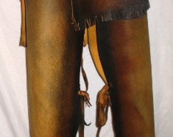 Native American Style Leather Breech Cloth Leggings Chaps Indian Buckskin Loincloth Custom Handmade by Debbie Leather