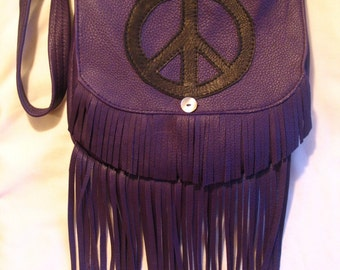 """Artisan Made Hippie Purse with Peace Sign Fringed Retro Purse Purple Deerskin Hand Bag  """"EGGPLANTS FOR PEACE"""" Handmade by Debbie Leather"""