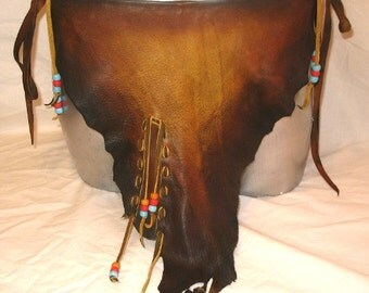 Authentic Leather Loincloth BURNING MAN Buckskin Distressed Deerskin Tarzan Primitive LGBT Breech Cloth Custom Handmade by Debbie Leather
