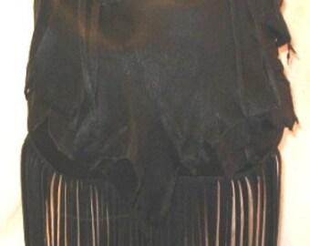 "Artisan Fringe Purse in Softest Black Deerskin, Designer Handbag in Leather with Fringe ""MY FIRST CRUSH"" Handmade by Debbie Leather"