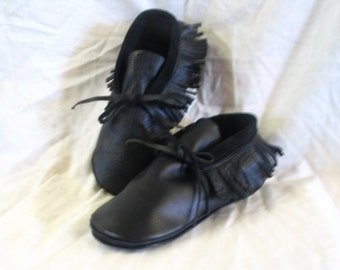 Authentic Style Deerskin Leather Moccasins Native American Style Black Fringed Shoes Custom Made in your Size Handmade by Debbie Leather