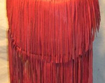 Fringed Red or Purple Leather Purse Hobo Hippie Deerskin Designer Handbag with Lots and Lots of Fringe Handmade by Debbie Leather