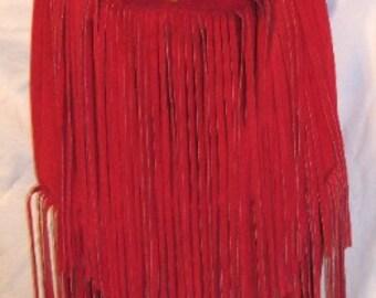 "Custom Fringed Red Suede Purse Leather Designer Handbag Hobo Style Purse Hippie Fringe Bag ""KATE'S DELIGHT"" Handmade Debbie Leather"