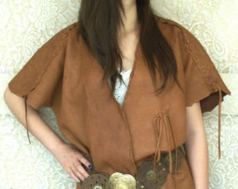 Leather Vest Renaissance TRIBAL Pirate COMICON Steampunk Goth Deerskin Hippie Primitive Vest Handmade by Debbie Leather
