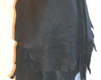 """Designer Leather Bag, Crossover Purse Ruffle Flap Extreme Natural Deerskin 6x7 pouch Custom  """"THE BLACK CAT"""" Handmade by Debbie Leather"""