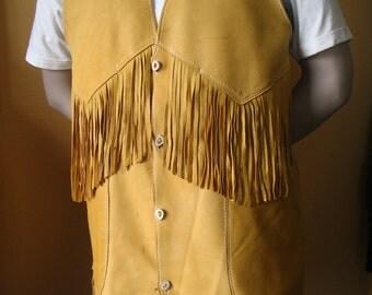 Artisan Made Mens Leather Vest Old West Native American Style Fringed Jacket in Deerskin Handmade by Debbie Leather