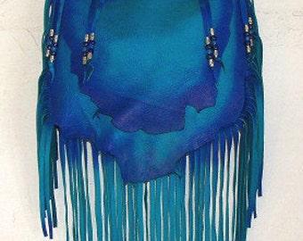 "Designer Leather Purse ""MERMAID BLUE"" Fringe Handbag Artisan Hippie Retro Beaded Bag Handmade by Debbie Leather"