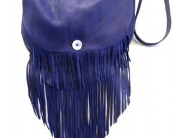 "Artisan Made Leather Hippie Retro Purse Fringed 70s Vintage Style Fringe Handbag Deerskin Bag ""FIESTA PURPLE BAG"" Handmade by Debbie Leather"