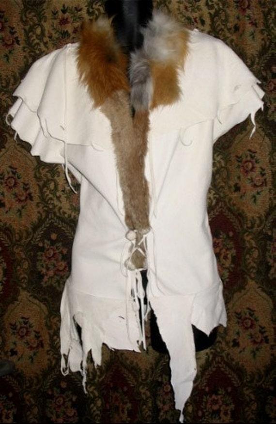 custom leather vest comicon renaissance fur shaman jacket
