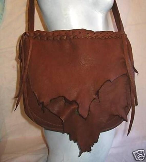 """Leather Designer Handbag,Hand Made Deerskin Purse in Rust or Black  Colored Deerskin """"PRETTY PATTY"""" Handmade by Debbie Leather"""