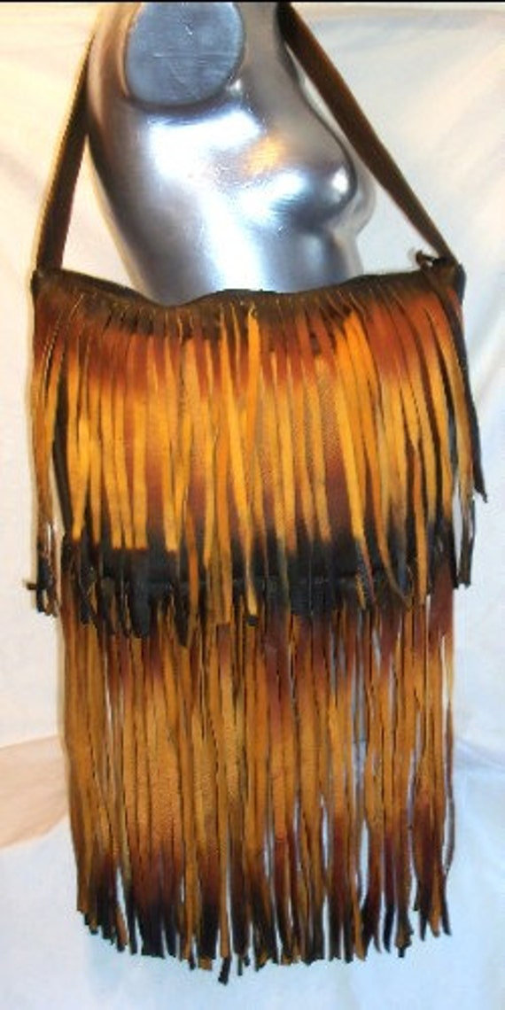 "Designer Leather Handbag Custom Leather Fringed Purse Hobo Bag in Distressed Deerskin  ""LOVELY  LINDSAY"" Handmade by Debbie Leather"