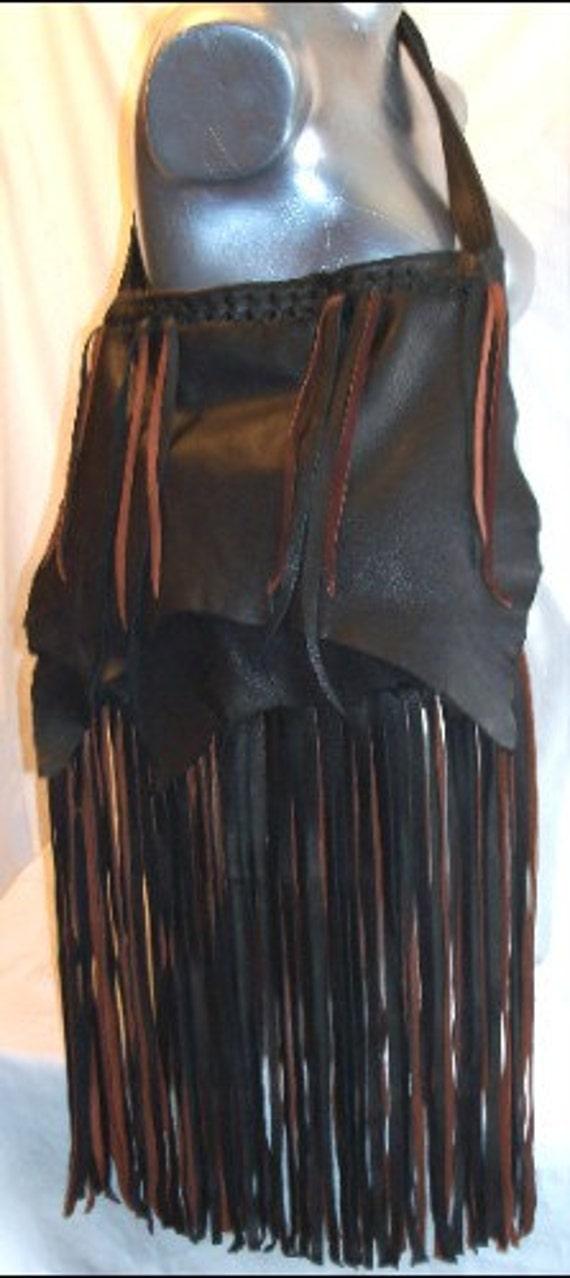 "Artisan Leather Handbag Fringe Purse Deerskin Retro Fringed Custom Bag Vintage Style Woodstock ""BLACK BEAUTY"" Handmade by Debbie Leather"