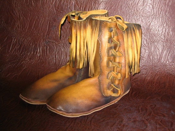 Artisan Made 70's Vintage Style Renaissance  Moccasins Native American Style Leather Lace-up Boot with Fringe Handmade by Debbie Leather