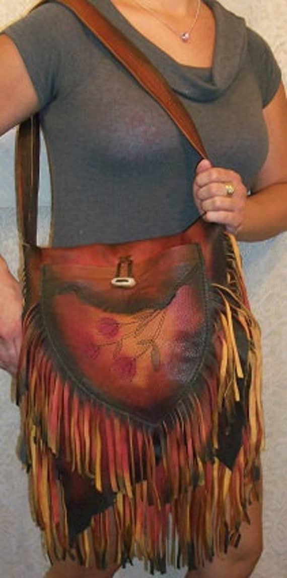 "Artisan Leather Purse Woodlands Fairy Fringed Bag Custom Made Hobo Bag  ""MERRY KNOLL"" Handmade by Debbie Leather"