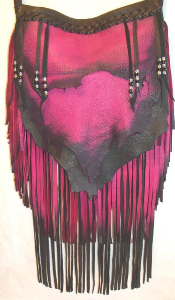 """Artisan Leather Designer Handbag Hobo Bag Hot Colors Hot Pink and Black Fringed Deerskin Purse """"PASSIONATE PINK"""" Handmade by Debbie Leather"""
