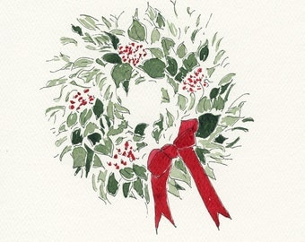 """Hand-painted Watercolor and Pen and Ink EUCALYPTUS WREATH Christmas Card Blank Inside 5"""" x 7"""" and envelope"""