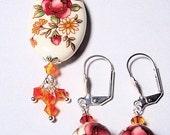 Japanese Tensha Bead Pendant and Earring Set, BHV
