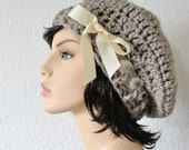 School Girl Hat in Taupe Hand Crocheted Beret  Slouchy Hat with Ivory Grosgrain Ribbon Bow