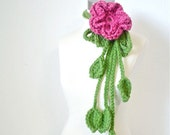 Petite Diva Scarf - Hand Crocheted  Raspberry Hot Pink Large Flower with 3 Grass Green Vines and Leaves