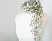 Fern Frond Women Crocheted Scarf in Oatmeal  Original design by kanokwalee.