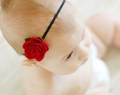 Pure Wool Felt  Rose In Fuchsia On A Skinny Headband - Perfect For Infant On Up To Adult - Hard Headband Or Clip