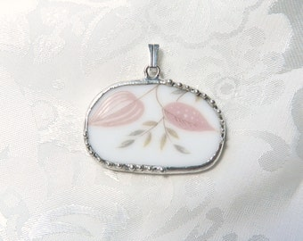 Vintage Recycled Broken China Jewelry Pendant