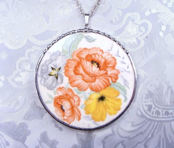 Broken China Jewelry Pendant Vintage Orange Floral  China