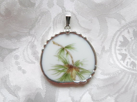 Broken China Jewelry Pendant Pine Tree