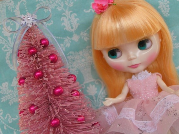 Pretty Pink  Decorated Bottle Brush Tree for your Dollie and Holiday Decor