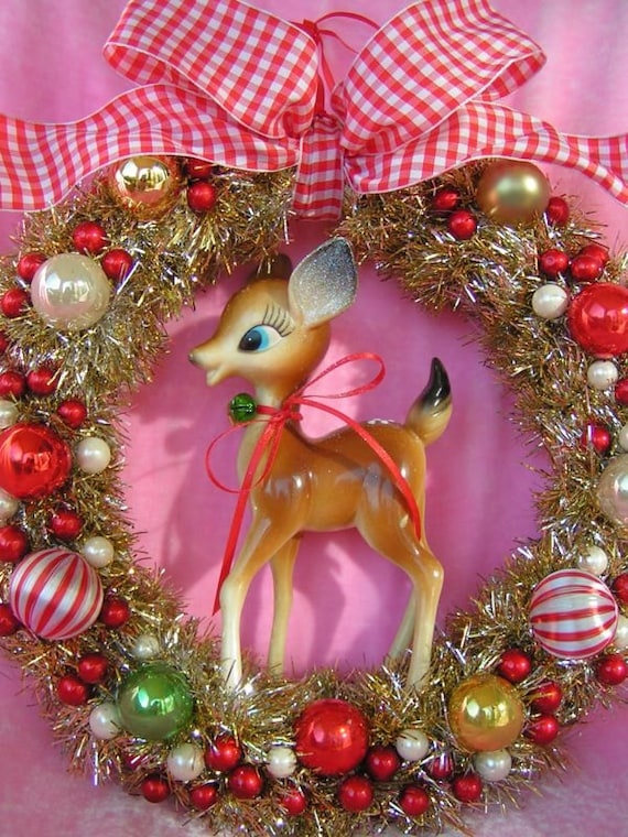 HAPPY Holiday SALE...Vintage Bambi Wreath in Red... Ooak