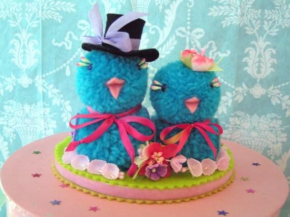FREE SHIPPING in USA  OOAK Handmade BlueBirds Wedding cake Topper Now On SALE