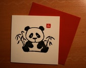 Letterpress card - Panda bear
