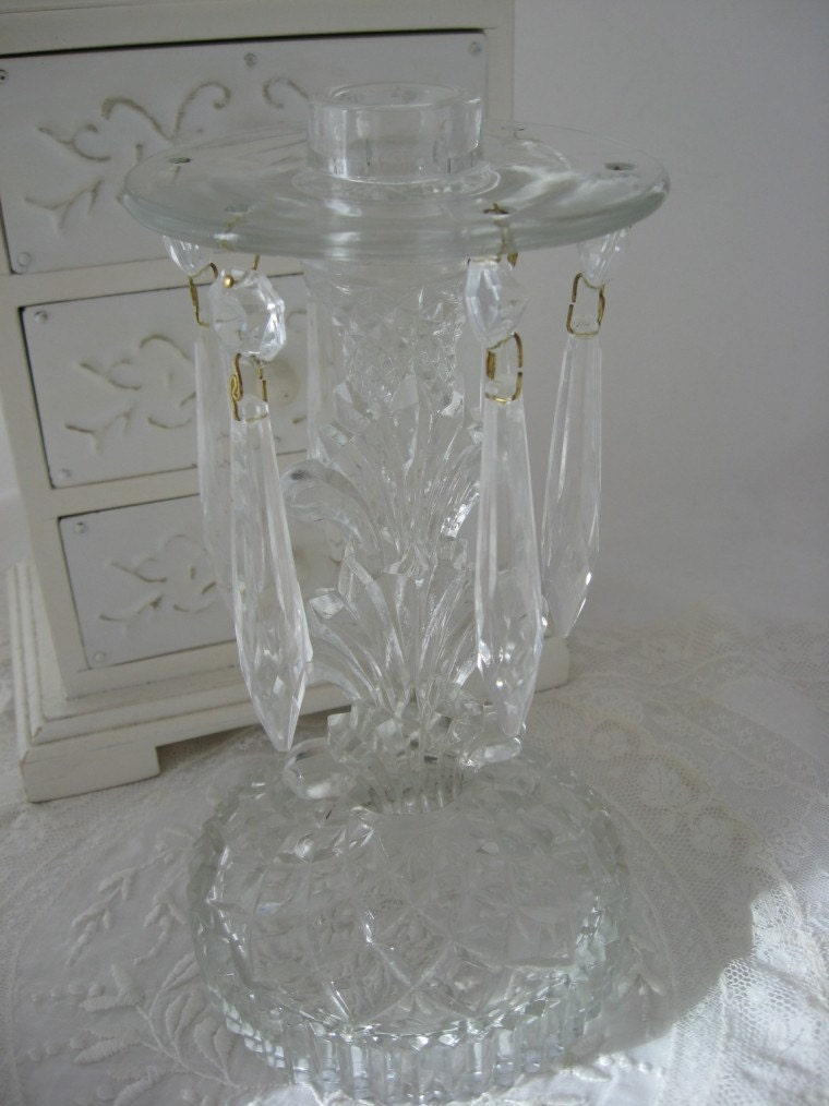 Vintage Glass Candle Holder With Prisms