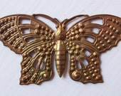 Vintage Oxidized Brass Butterfly Stamping