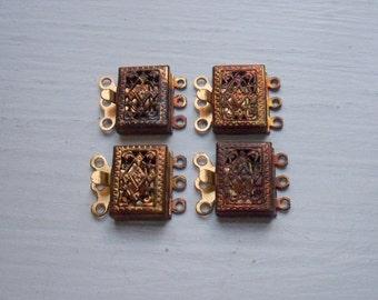 Lot Filigree Clasps Vintage 3 Strand  Brass Ox