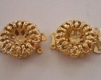 2 Vintage Brass Filigree Double Strand Push Clasps