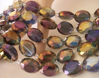 1 Strand AB Heliotrope Faceted Crystal Puffed Ovals