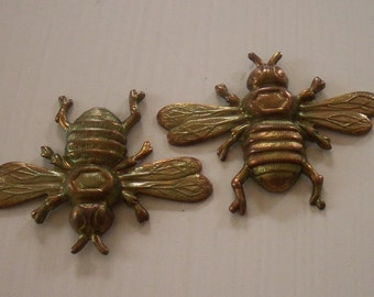 Vintage Ox Brass Bee Stampings