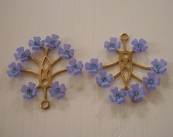 Vintage Brass Lucite And Crystal Flower Findings