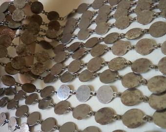 5 Feet Vintage Silver Ox Round Disc Chain
