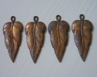 Lot  Large Leaf Brass Ox charms