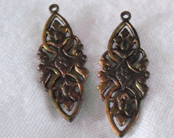 Floral Brass Ox Stamping Pair