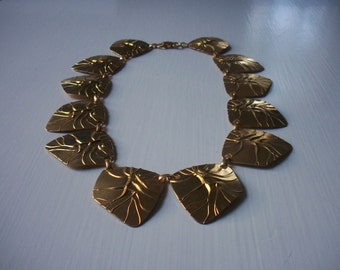 Vintage Brass Modernist Necklace