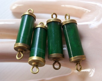 Vintage Jade Lucite Brass Capped Ends Bead Findings