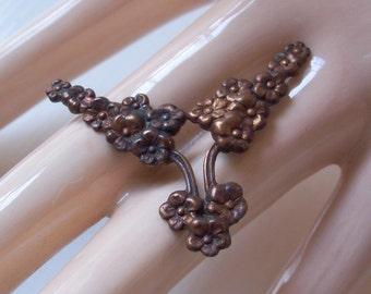 Vintage Oxidized Brass Floral Finding