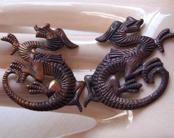 Oxidized Brass Dragon Stampings