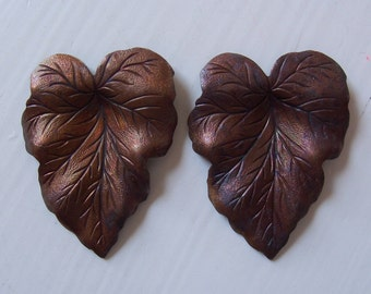Vintage Oxidized Brass Leaf Findings