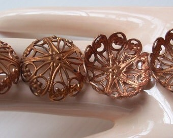 Vintage Copper Filigree Dapped Findings